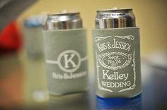 Wedding day koozies.