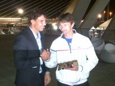 Rafa Nadal wishes Juan Carlos Ferrero goodbye and good luck after his retirement ceremony.