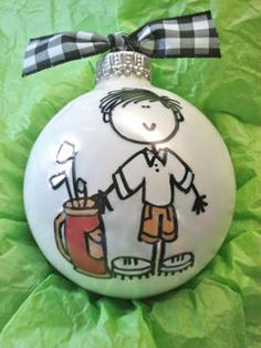 Golfer Ornament  Hand Painted and Personalized. Holy crap these are cute.