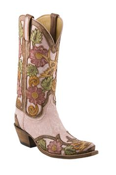 Ladies Lucchese Classics Destroyed Pink Filligree Hand Tooled Western Boots L4691