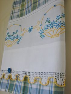 Tea Towel with a Vintage Touch   From Recycled by TwoGirlsLaughing, $18.00