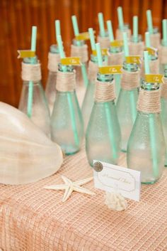 Drinks at a Mermaid ocean under the sea girl birthday party via Kara's Party Ideas