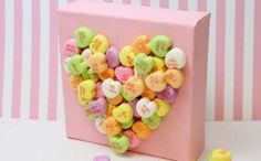 Sweet Conversation Starter: Candy Heart Art...personally i think it would be cute to do this on top of a little gift box