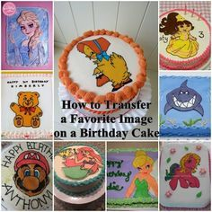 How to Transfer a Favorite Image on a Birthday Cake - klara Diy Birthday Cake, Birthday Cake Pictures, Birthday Parties, Cake Decorating Techniques, Cake Decorating Tutorials, Cookie Decorating, Decorating Ideas, Edible Picture Cake, Carvel Ice Cream Cake