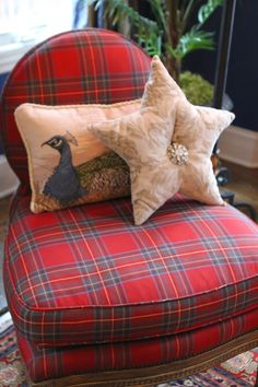 Tartan slipper chair - darling, but lose the pillows.... too much!
