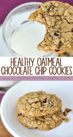 Healthy Oatmeal Chocolate Chip Cookies – Mel's Kitchen Cafe Make these cookies! I was so pleasantly surprised by the deliciously chewy, nutty texture and wonderful sweetness. I didn't miss even a tablespoon of the lacking butter. Oatmeal Chocolate Chip Cookie Recipe, Healthy Oatmeal Cookies, Healthy Cookie Recipes, Healthy Sweets, Healthy Baking, Dessert Recipes, Nutella Recipes, Cookies With Applesauce, Chocolate Cookies