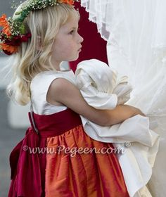Flower girl dress in orange and red