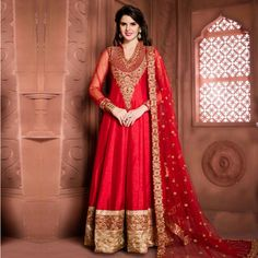 Buy Red - Beautiful Banglori Silk Anarkali for womens online India, Best Prices, Reviews - Peachmode