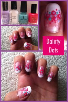 """This nail design is called """"Dainty Dots"""" - I created this diva design by painting my nail tips and adding dots! If you look closely, you will see a flower.  I did this detail with the """"Salon Express Nail Art Stamping Kit."""" I learned how to do this technique on YouTube.  Click on the picture to see my inspiration!"""