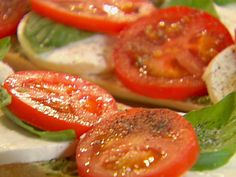 Open-Faced Tomato, Mozzarella and Basil Sandwich Recipe : Ina Garten : Food Network - FoodNetwork.com