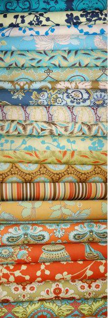 Blue and orange fabrics