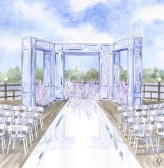 Watercolor vibes in a wedding illustration Wedding Stage Design, Wedding Designs, Wedding Trellis, Book Centerpieces, Wedding Drawing, Wedding People, Flower Boutique, Wedding Illustration, Wedding Cards Handmade