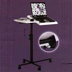 Black/White Laptop Height Adjustable Table/Stand, 91354