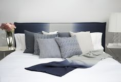 Renaissance Pillows Ombre Headboard - Navy Ombre Throw - Navy #RosemaryHallgarten