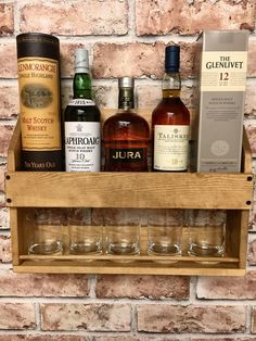 Whisky Rack, Drinks Rack, Whisky Gift, Gift for him, Dad Gift, Husband Gift, Housewarming, Anniversary, Rustic by Rusticretrofurniture on Etsy https://www.etsy.com/uk/listing/553331721/whisky-rack-drinks-rack-whisky-gift-gift