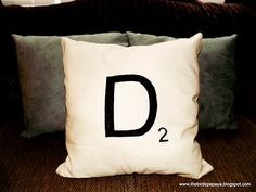 Freezer Paper Stencil - Scrabble Pillow DIY - @David Acord haha you know why ;-)