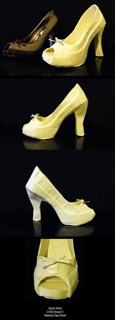 Masking Tape Shoe by Shira-chan on DeviantArt Sculpture Lessons, Sculpture Projects, Art Projects, Sculpture Ideas, Project Ideas, Masking Tape Art, Middle School Fashion, 7th Grade Art, Recycled Dress