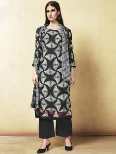 9c4f15fe38 ... Sensuous black and grey cotton casual wear salwar suit. Having fabric  cotton. The attractive thread work and embroidery work all through the  salwar suit ...