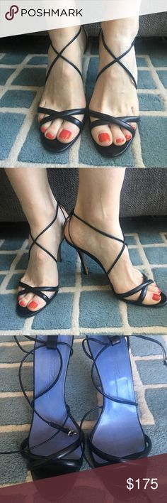 91d20ab5014 Brian Atwood strappy sandals size 39 Brian Atwood black sandals size 39  (runs small)