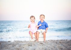 Brother and sister beach photo. She sat on the box the whole shoot because she does not want to get her feet in the sand...so cute!