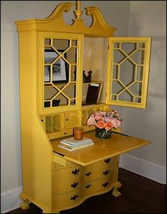 I like the art deco-esque lattice work Bright Painted Furniture, Paint Furniture, Furniture Projects, Furniture Market, Furniture Movers, Desk Makeover, Furniture Makeover, Repurposed Furniture, Antique Furniture