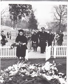 "gracie-bird: ""HSH Princess Grace of Monaco leaves flowers and pray in the grave of JFK, during his burial at Arlington Cemetery, Washington (1963). """