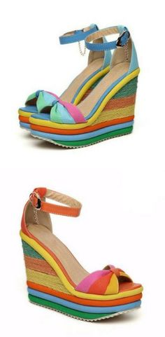 757c23b6978 Rainbow Color Bohemia Buckle Strap Women Wedge Sandals