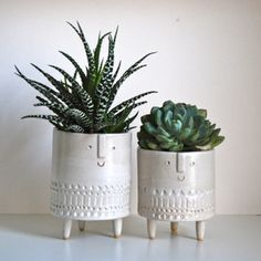 Image of Pair of tripod planters