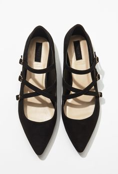 Faux Suede Strappy Flats