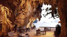 The Grotto - a Romantic Restaurant on the Beach in Thailand Thailand Tourism, Krabi Thailand, Romantic Honeymoon, Romantic Getaways, Honeymoon Destinations, Amazing Destinations, Restaurant On The Beach, Adventure World, Stunning View