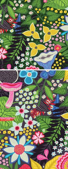 In anticipation of summer I share with you the greens, the blooms and the mushrooms of thispattern:)...