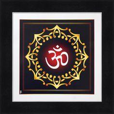 Avercart OM - The Divine Sound / Aum / Sweet Aum / Meditation Aum Poster 12x12 inch with Photo Frame (30x30 cm framed)