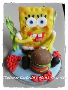 Cake topper SPONGEBOB in pasta di mais.