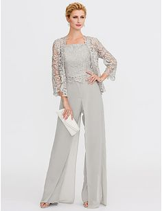 Pantsuit Straps Floor Length Chiffon / Corded Lace Mother of the Bride Dress wit… Pantsuit Straps Floor Length Chiffon / Corded Lace Mother of the Bride Dress with Appliques / Lace / Split Front by LAN TING BRIDE® 2018 –… Continue Reading → Mother Of The Bride Trouser Suits, Mother Of Bride Outfits, Mother Of The Bride Gown, Mother Of Groom Dresses, Mothers Dresses, Mother Of The Bride Clothes, Brides Mom Dress, Vestidos Mob, Wedding Pantsuit