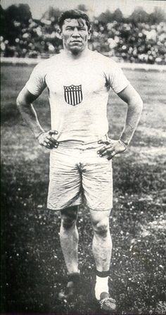 Jim Thorpe. Notice the different socks? Somebody stole his shoes before his race. All he could find were two shoes of different sizes discarded in the trash can. One was too big so he wore extra socks. He ran his race like this, and got an Olympic gold medal, and set a world record. He was treated this way because he was a Native American