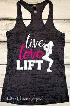 Fitness Gyms Outfits : Womens Fitness Tank Live Love Lift Girls Who Lift Work Out Tank Workout Shirts Fitness Gifts Gym Motivation Weightlifting Tank Gifts Workout Tanks, Workout Gear, Fun Workouts, Fitness Workouts, Funny Fitness, Fitness Hacks, Fitness Humor, Workout Humor, Fit Girl Motivation