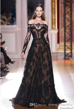 Wholesale Evening Dress - Buy 2014 Sexy Zuhair Murad Long Sleeves Mother of the Bride Dresses Prom Dresses Lace Black Evening Dresses Off-Shoulder Celebrity Dresses, $147.0 | DHgate