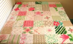 Vintage Chenille Baby Quilt in Spumoni Colors