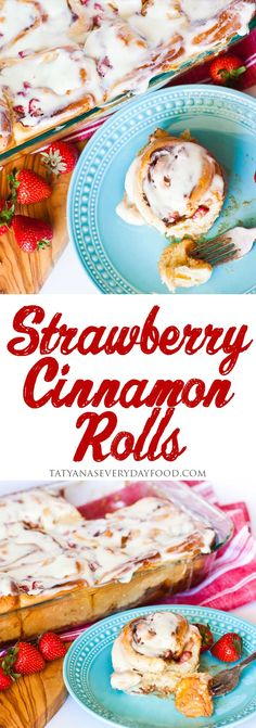 These strawberries and cream cinnamon rolls are simply divine! If you enjoyed my classic cinnamon rolls, you'll love these! View Recipe Link MY LATEST VIDEOS Strawberry Cinnamon Rolls, Pumpkin Cinnamon Rolls, Strawberry Pancakes, Unique Recipes, Other Recipes, Easy Cream Cheese Icing, Cookies Cupcakes And Cardio, Tatyana's Everyday Food, Recipe Link
