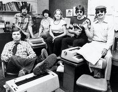 Record staff (probably 1978): Editor Mark Mittelstadt, Rick Chase, Rae Riebe, Dawn Nielsen, Jeff Moravec, Warren Wolfswinkel