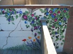 Exterior Garden-themed mural on brick wall. See the whole mural (and before and after) in another pin.