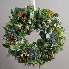 highland festive foliage wreath by the flower studio | notonthehighstreet.com