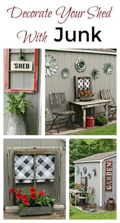 Decorating a Home Depot Shed Kit with JUNK #junkgarden #gardenjunk #flowergarden #containergarden #oldsignstencils #stencils