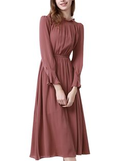 Black Cold Shoulder Midi Dress With Scalloped Neckline - Cameo Brown Gathered Detail Midi Dress Best Picture For outfits night For Your Taste You are look - Modest Dresses, Elegant Dresses, Vintage Dresses, Dresses For Work, Maxi Dresses, Lace Midi Dress, Chiffon Dress, Dress Up, Pink Dress