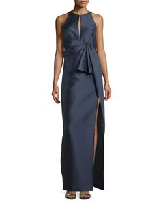 Pleated-Waist+Column+Gown,+Marine+by+J.+Mendel+at+Neiman+Marcus.