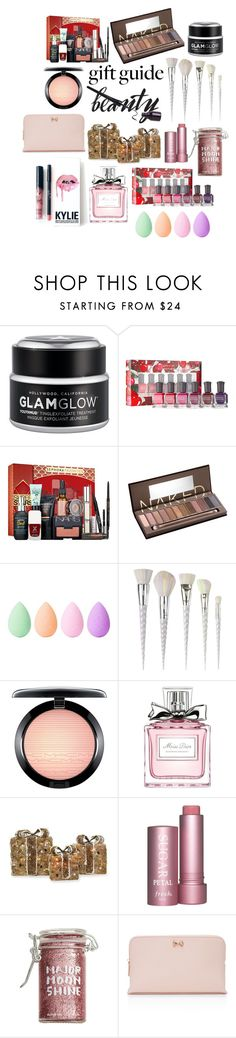 """Gift Guide: Beauty Faves"" by julieerindesigns ❤ liked on Polyvore featuring beauty, GlamGlow, Sephora Collection, Urban Decay, Kylie Cosmetics, beautyblender, Unicorn Lashes, MAC Cosmetics, Christian Dior and Shea's Wildflower Company"