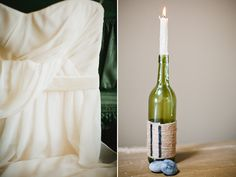 wine bottle and melted candle