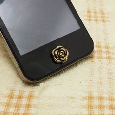 Retro Black Golden Rose Alloy Home Button Sticker for iPhone 3,4,4s,5,ipad 2,3,4,iPod Touch 2,3,4,5 on Etsy, $2.49