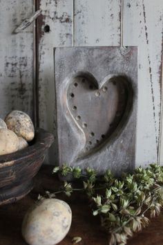 Heart Maple Sugar Mold - Rustic Decor - Old & Chalky Finish -Small Single Heart