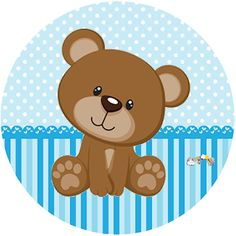 Teddy Bear Party, Teddy Bear Birthday, Baby Boy First Birthday, Baby Cartoon Drawing, Distintivos Baby Shower, Moldes Para Baby Shower, Scrapbook Bebe, Birthday Cake With Flowers, Baby Shower Cupcake Toppers
